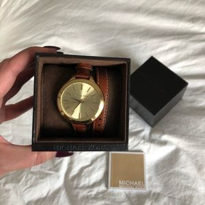 Michael Kors Leather Wrap Watch